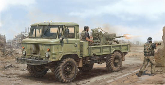 Russian GAZ-66 Light Truck with ZU-23-2 Scale Model Kit Box Art By Trumpeter