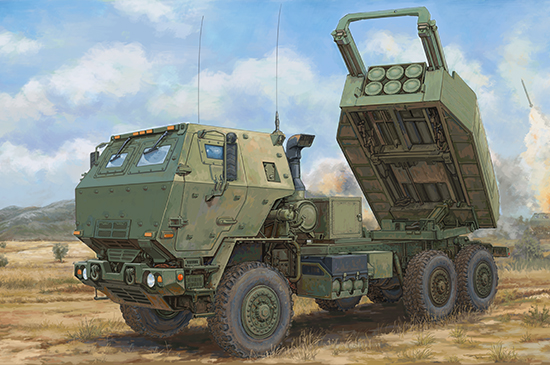 US M142 (HIMARS) High Mobility Rocket Launcher System Scale Model Kit Box Art By Trumpeter