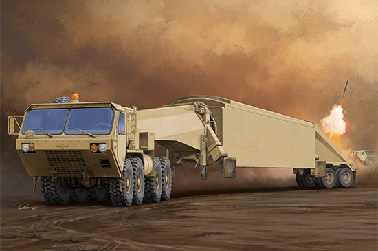 AN/TPY-2 X-Band Radar And M983 Truck Scale Model Kit Box Art By Trumeter