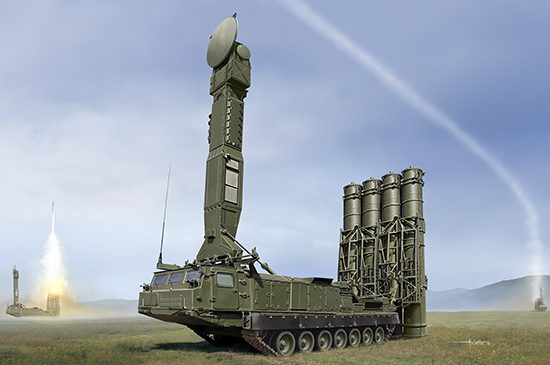 S-300V SAM 1/35 scale model kit box art by Trumpeter Models