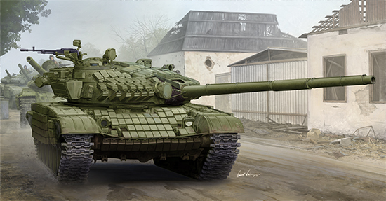 T-72A Mod 1985 Main Battle Tank 1/35 scale model kit box art by Trumpeter Models