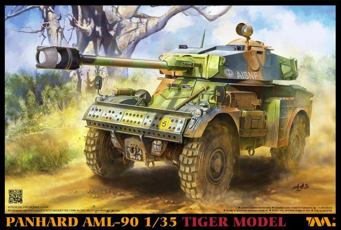 Panhard AML-60 scale model kit box art by Tiger Model