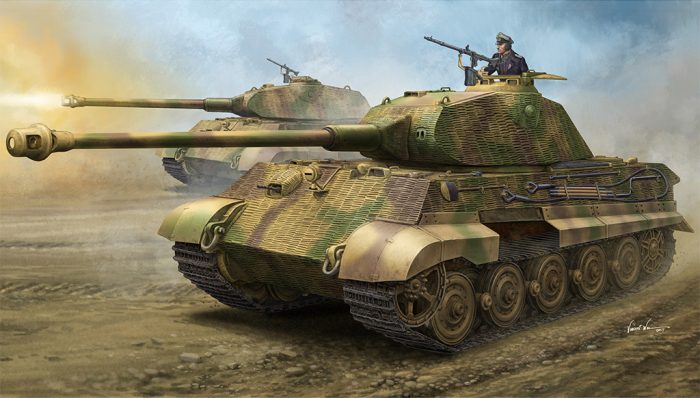 "German Sd.Kfz.182 King Tiger ""Porsche Turret"" w/ Zimmerit Scale Model Kit Box Art By Hobby Boss"