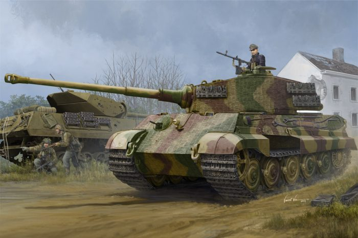 "German Sd.Kfz.182 King Tiger ""Henschel Turret"" w/ Zimmerit Scale Model Kit Box Art By Hobby Boss"