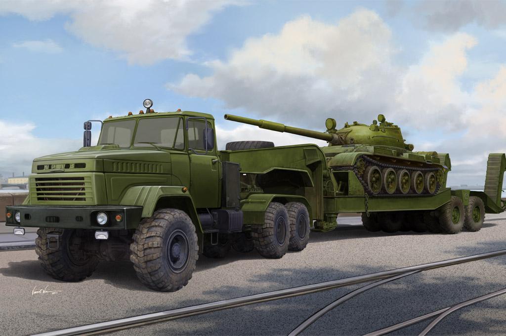 KrAZ-6446 Tractor w/ MAZ/ChMZAP Semi-Trailer 1/35 scale model kit box art by HobbyBoss