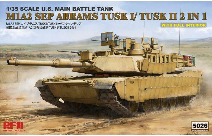 M1A2 SEP Abrams TUSK I /TUSK II w/Full Interior Box Art By Ryefield Model