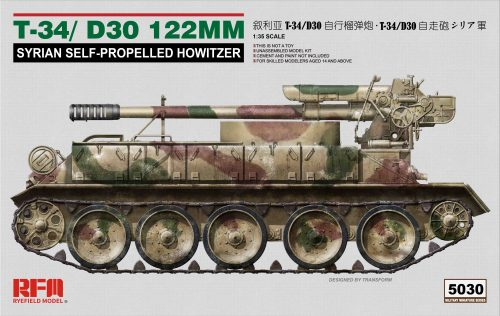 T-34/D30 122 mm Syrian Self Propelled Howitzer Box Art by Ryefield Model